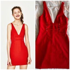 NWT Zara Trafaluc Red Lace Up V-Neck Dress